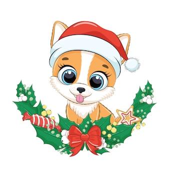 Lindo perro con corona de navidad.