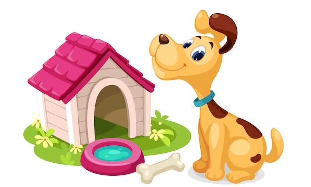 Lindo perro con dibujos animados de casa de perro