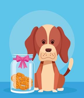 Lindo perro de dibujos animados con hucha de vidrio con lazo rosa y monedas