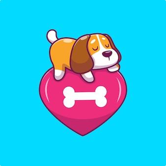 Lindo perro durmiendo en el corazón