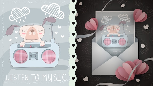 Lindo perro escucha la idea de la radio para la tarjeta de felicitación