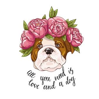 Lindo perro en flores rosadas con ilustración de texto fondo aislado