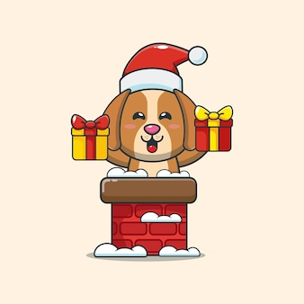Lindo perro con gorro de papá noel en la chimenea linda ilustración de dibujos animados de navidad