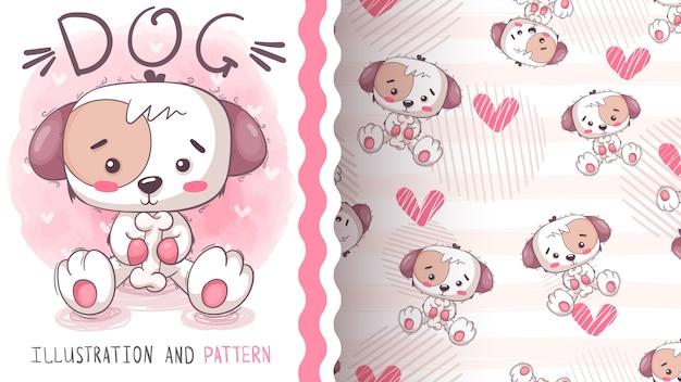Lindo perro con hueso - patrón sin costuras