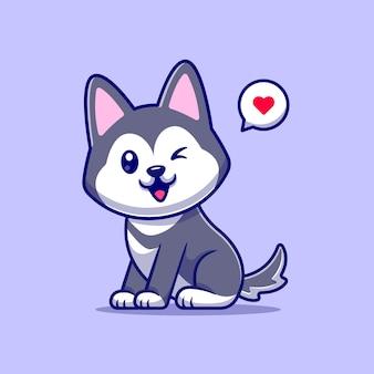 Lindo perro husky Vector Premium