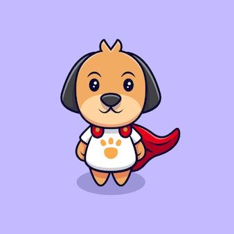Lindo perro con una ilustración de icono de dibujos animados de capa. estilo de dibujos animados plana
