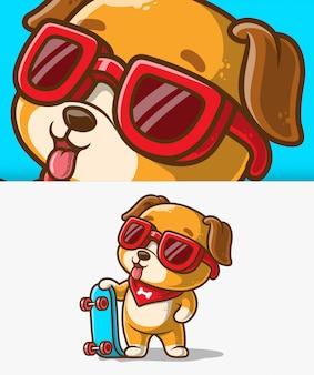 Lindo perro con una ilustración del icono de patineta. personaje de dibujos animados de mascota perro