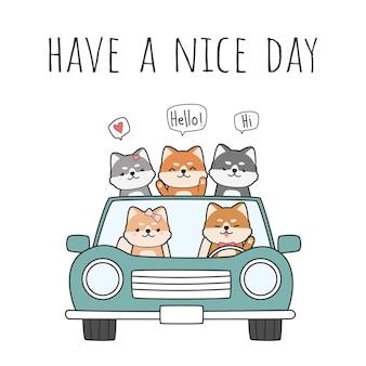 Lindo perro japonés shiba inu amigos conduciendo un doodle de dibujos animados de coche
