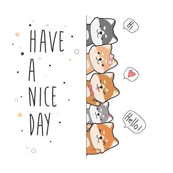 Lindo perro japonés shiba inu amigos saludo doodle de dibujos animados