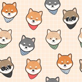 Lindo perro japonés shiba inu dibujos animados de patrones sin fisuras