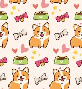 Lindo perro con juguetes y comida kawaii fondo