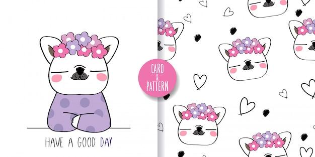 Lindo perro mascota de patrones sin fisuras e ilustración