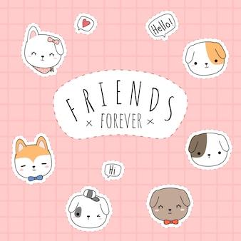 Lindo perro mejores amigos para siempre saludo tarjeta cuadrada de doodle de dibujos animados