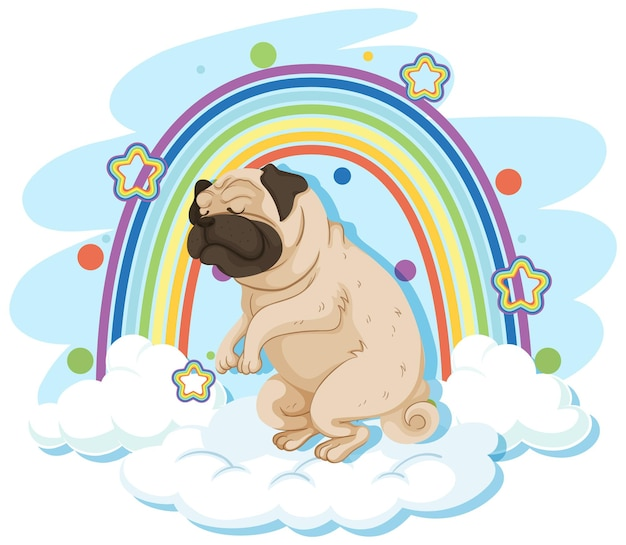 Lindo perro en la nube con arcoiris