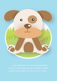 Lindo perro en papel cortado estilo.