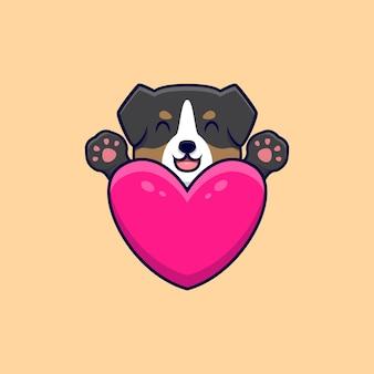 Lindo perro pastor australiano abraza un gran corazón de dibujos animados