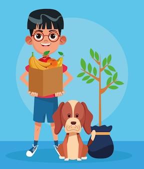 Lindo perro, planta y niño de dibujos animados con una bolsa de papel con frutas