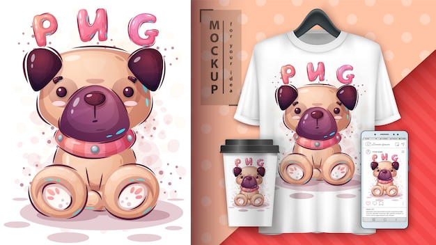 Lindo perro pug ilustración y merchandising.
