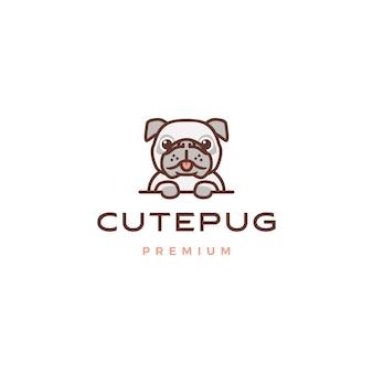 Lindo perro pug personaje de dibujos animados mascota logo icono ilustración