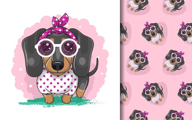 Lindo perro salchicha de dibujos animados y conjunto de patrones