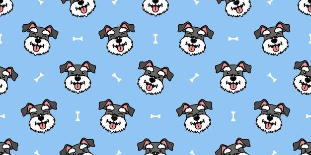 Lindo perro schnauzer miniatura dibujos animados de patrones sin fisuras, ilustración vectorial