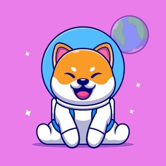 Lindo perro shiba inu astronauta sentado icono de dibujos animados ilustración.
