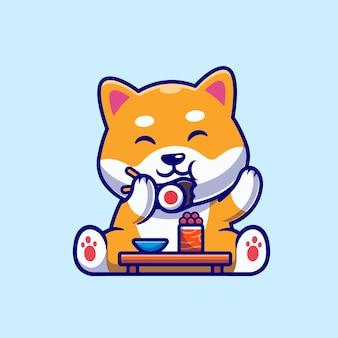 Lindo perro shiba inu comiendo dibujos animados de sushi