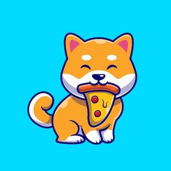 Lindo perro shiba inu comiendo pizza icono de dibujos animados ilustración.
