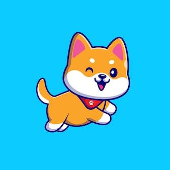Lindo perro shiba inu corriendo y vistiendo bufanda de dibujos animados ilustración. concepto de naturaleza animal aislado. estilo de dibujos animados plana