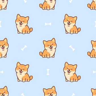 Lindo perro shiba inu dibujos animados de patrones sin fisuras, ilustración