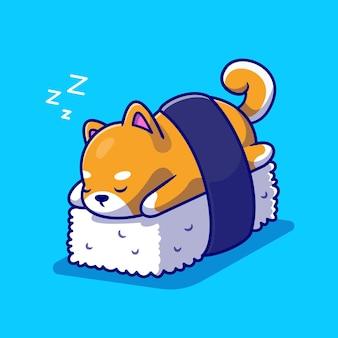 Lindo perro shiba inu durmiendo en la ilustración de icono de dibujos animados de sushi.