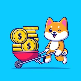 Lindo perro shiba inu empujando el carro ilustración de icono de vector de dibujos animados de moneda de oro. concepto de icono de negocio animal aislado vector premium. estilo de dibujos animados plana