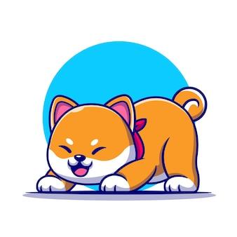 Lindo perro shiba inu estirando la ilustración de dibujos animados.