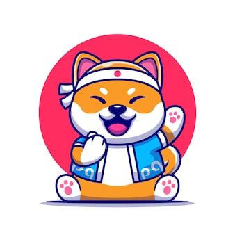 Lindo perro shiba inu con ilustración de dibujos animados de traje japonés.