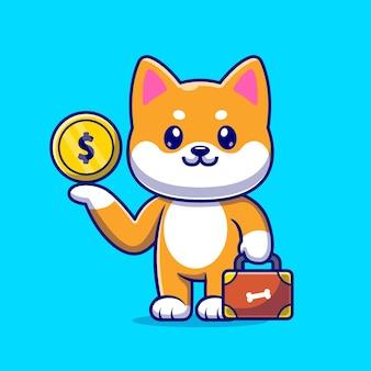 Lindo perro shiba inu con moneda de oro y maleta cartoon vector icono ilustración. concepto de icono de negocio animal aislado vector premium. estilo de dibujos animados plana
