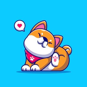 Lindo perro shiba inu rascarse la ilustración de dibujos animados de orejas.