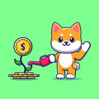 Lindo perro shiba inu regando dinero planta dibujos animados vector icono ilustración. concepto de icono de negocio animal aislado vector premium. estilo de dibujos animados plana