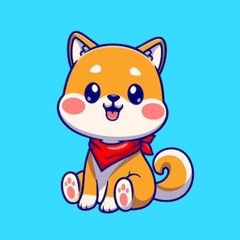 Lindo perro shiba inu sentado ilustración de icono de vector de dibujos animados. concepto de icono de naturaleza animal aislado vector premium. estilo de dibujos animados plana