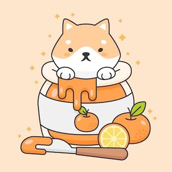 Lindo perro shiba inu en un tarro de mermelada de naranja