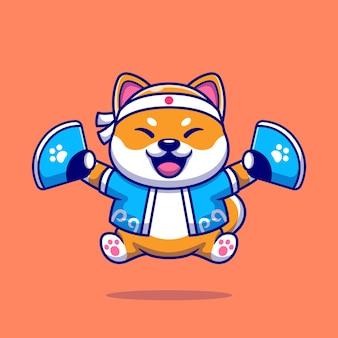 Lindo perro shiba inu con traje japonés e ilustración de dibujos animados de ventilador de mano.