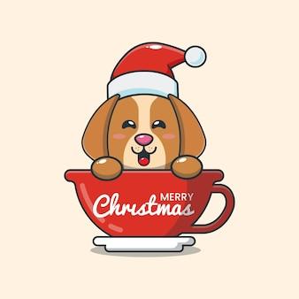 Lindo perro con sombrero de santa en taza ilustración de dibujos animados lindo de navidad