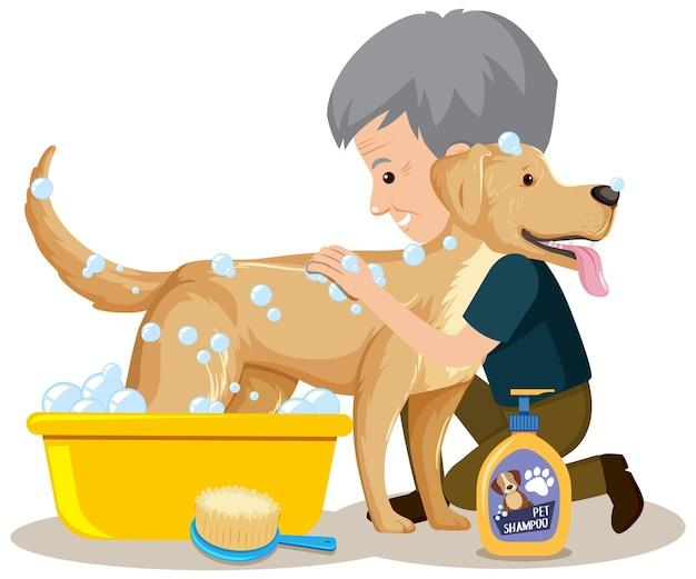 Lindo perro tomar una ducha por propietario sobre fondo blanco.
