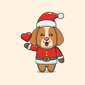 Lindo perro con traje de santa ilustración de dibujos animados lindo de navidad