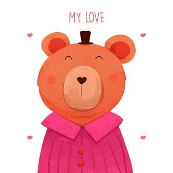 Lindo personaje de acuarela oso