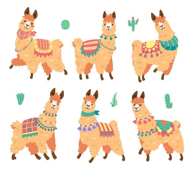 Lindo personaje de alpaca con diferentes emociones aisladas en blanco