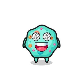 Lindo personaje de ameba con ojos hipnotizados, diseño de estilo lindo para camiseta, pegatina, elemento de logotipo