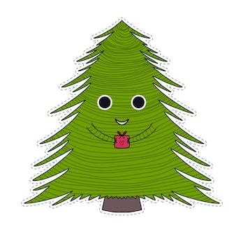 Lindo personaje de árbol de navidad. árbol de año nuevo con regalo.