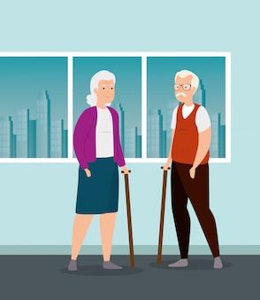 Lindo personaje de avatar de pareja de ancianos