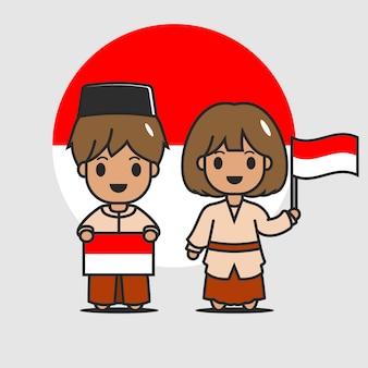 Lindo personaje de bandera indonesia