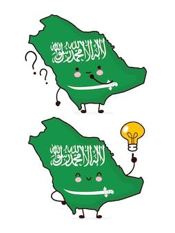 Lindo personaje de bandera y mapa de arabia saudita divertido feliz con signo de interrogación y bombilla